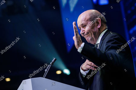 French Foreign minister Jean-Yves Le Drian delivers a speech to support the La Republique En Marche (LaREM) party candidate for the European elections Nathalie Loiseau (unseen) during the last European elections campaign meeting in Paris, France, 24 May 2019. The European Parliament election is held by member countries of the European Union (EU) from 23 to 26 May 2019.
