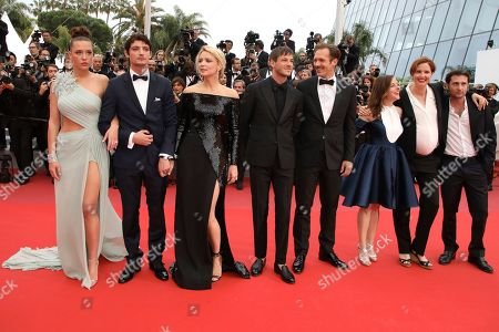 Adele Exarchopoulos, Niels Schneider, Virginie Efira, Gaspard Ulliel, Paul Hamy, Laure Calamy, Justine Triet, Arthur Harari. Actors Adele Exarchopoulos, from left, Niels Schneider, Virginie Efira, Gaspard Ulliel, Paul Hamy, Laure Calamy, director Justine Triet and actor Arthur Harari poses for photographers upon arrival at the premiere of the film 'Sybil' at the 72nd international film festival, Cannes, southern France