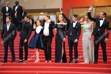Arthur Harari, Laure Calamy, Justine Triet, Virginie Efira, Niels Schneider, Adele Exarchopoulos, Paul Hamy. Arthur Harari, from left, Gaspard Ulliel, Laure Calamy, director Justine Triet, actors Virginie Efira, Niels Schneider, Adele Exarchopoulos and Paul Hamy pose for photographers upon arrival at the premiere of the film 'Sybil' at the 72nd international film festival, Cannes, southern France