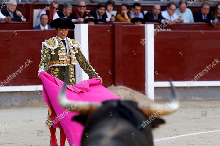 Spanish bullfighter Julian Lopez 'El Juli' fights a bull during the 11th day of San Isidro bullfighting Fair at Las Ventas bullring in Madrid, Spain, 24 May 2019.