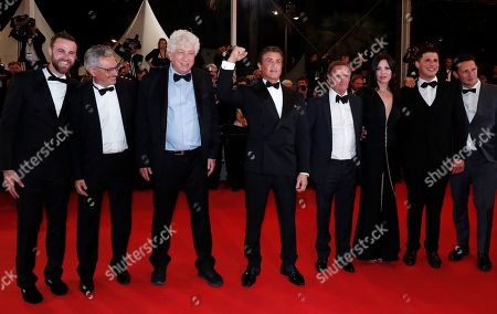 Jeff Greenstein, French producer Victor Hadida, Israeli-US producer Avi Lerner, US actor Sylvester Stallone, US producer Kevin King, US actress Christa Campbell, US producer Jonathan Yunger and a guest arrive for the screening of 'Rambo V: Last Blood' at the 72nd annual Cannes Film Festival, in Cannes, France, 24 May 2019. The festival runs from 14 to 25 May.