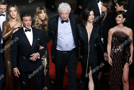 Sylvester Stallone (2-L) with his wife US model Jennifer Flavin (3-L) and daughter US actress Sistine Rose Stallone (L), Israeli-US producer Avi Lerner (3-R), US actress Christa Campbell (2-R) and Spanish actress Paz Vega (R) arrive for the screening of 'Rambo V: Last Blood' at the 72nd annual Cannes Film Festival, in Cannes, France, 24 May 2019. The festival runs from 14 to 25 May.