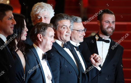 US producer Jonathan Yunger, US actress Christa Campbell, US producer Kevin King, US actor Sylvester Stallone, Israeli-US producer Avi Lerner, French producer Victor Hadida and US producer Jeff Greenstein arrive for the screening of 'Rambo V: Last Blood' at the 72nd annual Cannes Film Festival, in Cannes, France, 24 May 2019. The festival runs from 14 to 25 May.