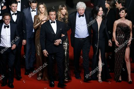 Sylvester Stallone (5-L) with his wife US model Jennifer Flavin (6-L) and daughter US actress Sistine Rose Stallone (4-L), US producer Kevin King (L), US producer Jonathan Yunger (2-L), Israeli-US producer Avi Lerner (3-R), US actress Christa Campbell (2-R) and Spanish actress Paz Vega (R) arrive for the screening of 'Rambo V: Last Blood' at the 72nd annual Cannes Film Festival, in Cannes, France, 24 May 2019. The festival runs from 14 to 25 May.