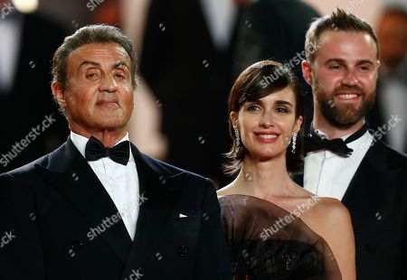 Stock Image of Sylvester Stallone, Spanish actress Paz Vega and US producer Jeff Greenstein arrive for the screening of 'Rambo V: Last Blood' at the 72nd annual Cannes Film Festival, in Cannes, France, 24 May 2019. The festival runs from 14 to 25 May.