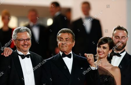 French producer Victor Hadida, US actor Sylvester Stallone, Spanish actress Paz Vega and US producer Jeff Greenstein arrive for the screening of 'Rambo V: Last Blood' at the 72nd annual Cannes Film Festival, in Cannes, France, 24 May 2019. The festival runs from 14 to 25 May.