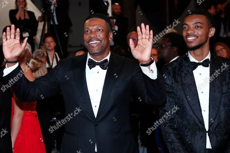 Stock Image of Chris Tucker (L) and son Destin Christopher Tucker (R) arrive for the screening of 'Rambo V: Last Blood' at the 72nd annual Cannes Film Festival, in Cannes, France, 24 May 2019. The festival runs from 14 to 25 May.