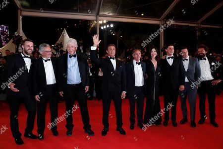 Jeff Greenstein, French producer Victor Hadida, Israeli-US producer Avi Lerner, US actor Sylvester Stallone, US producer Kevin King, French producer Victor Hadida, US producer Jonathan Yunger and guests arrive for the screening of 'Rambo V: Last Blood' at the 72nd annual Cannes Film Festival, in Cannes, France, 24 May 2019. The festival runs from 14 to 25 May.