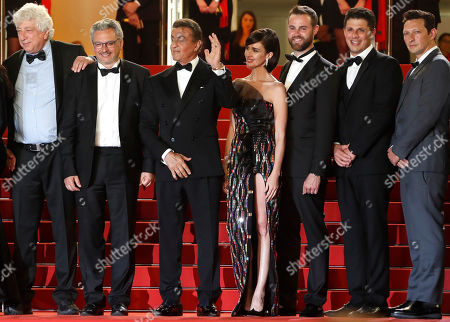 Avi Lerner, French producer Victor Hadida, US actor Sylvester Stallone, Spanish actress Paz Vega, US producer Jeff Greenstein, US producer Jonathan Yunger arrive for the screening of 'Rambo V: Last Blood' at the 72nd annual Cannes Film Festival, in Cannes, France, 24 May 2019. The festival runs from 14 to 25 May.