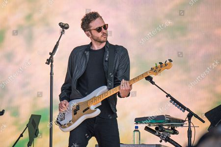 Stock Photo of Brent Kutzle of OneRepublic performs at the Bottle Rock Napa Valley Music Festival at Napa Valley Expo, in Napa, Calif