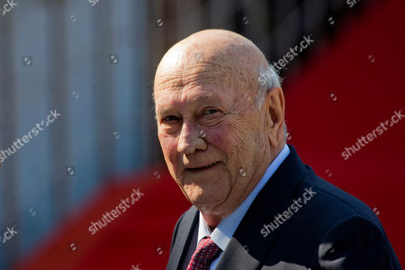 Stock Photo of Former South African President Frederik Willem de Klerk arrives for the swearing-in ceremony of Cyril Ramaphosa at Loftus Versfeld stadium in Pretoria, South Africa, . Ramaphosa has vowed to crack down on the corruption that contributed to the ruling ANC' s weakest election showing in a quarter-century