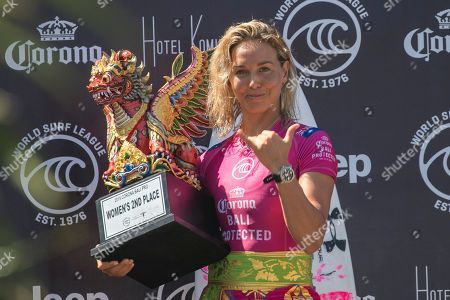Stock Image of Australian Sally Fitzgibbons holds her trophy for winning the second place of the Women's Corona Bali Protected surfing event as part of the 2019 World Surf League in Keramas, Bali, Indonesia, 25 May 2019.