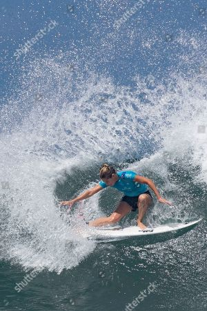 Stock Photo of Australian Stephanie Gilmore in action during the Women's finals of the Corona Bali Protected surfing event as part of the 2019 World Surf League in Keramas, Bali, Indonesia, 25 May 2019.