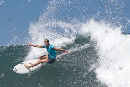 Stock Image of Australian Stephanie Gilmore in action during the Women's finals of the Corona Bali Protected surfing event as part of the 2019 World Surf League in Keramas, Bali, Indonesia, 25 May 2019.