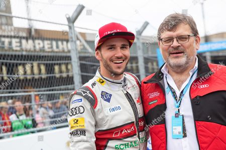 Stock Photo of German Formula E driver Daniel Abt (L) of the Audi Sport ABT Schaeffler team poses during the Formula E Berlin E-Prix 2019 at the Tempelhof airport in Berlin, Germany, 25 May 2019. The Berlin ePrix is an annual race of the single-seater, electrically powered Formula E championship.