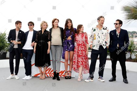Stock Picture of Gaspard Ulliel, French actor Niels Schneider, Belgian actress Virginie Efira, French director Justine Triet, French actress Adele Exarchopoulos, French actress Laura Calamy, French actor Paul Hamy and French actor Arthur Harari pose during the photocall for 'Sibyl' at the 72nd annual Cannes Film Festival, in Cannes, France, 25 May 2019. The movie is presented in the Official Competition of the festival which runs from 14 to 25 May.