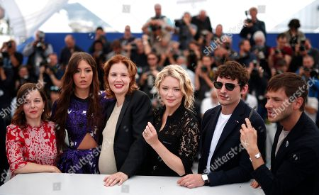 French actress Laura Calamy, French actress Adele Exarchopoulos, French director Justine Triet, Belgian actress Virginie Efira, French actor Niels Schneider and French actor Gaspard Ulliel pose during the photocall for 'Sibyl' at the 72nd annual Cannes Film Festival, in Cannes, France, 25 May 2019. The movie is presented in the Official Competition of the festival which runs from 14 to 25 May.