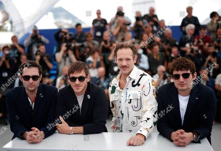 Stock Photo of French actors Arthur Harari, Gaspard Ulliel, Paul Hamy and Niels Schneider pose during the photocall for 'Sibyl' at the 72nd annual Cannes Film Festival, in Cannes, France, 25 May 2019. The movie is presented in the Official Competition of the festival which runs from 14 to 25 May.
