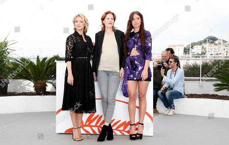 Virginie Efira (L), French director Justine Triet and French actress Adele Exarchopoulos (R) pose during the photocall for 'Sibyl' at the 72nd annual Cannes Film Festival, in Cannes, France, 25 May 2019. The movie is presented in the Official Competition of the festival which runs from 14 to 25 May.