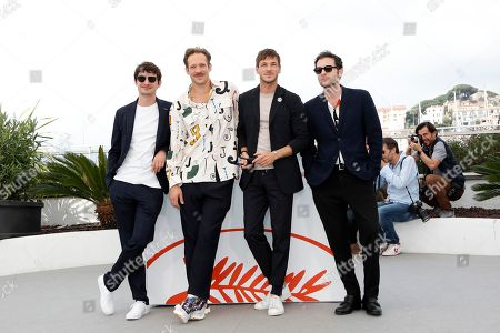 Stock Image of Niels Schneider, French actor Paul Hamy, French actor Gaspard Ulliel and French actor Arthur Harari pose during the photocall for 'Sibyl' at the 72nd annual Cannes Film Festival, in Cannes, France, 25 May 2019. The movie is presented in the Official Competition of the festival which runs from 14 to 25 May.