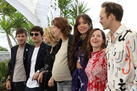Gaspard Ulliel, Niels Schneider, Virginie Efira, Justine Triet, Adele Exarchopoulos, Laure Calamy, Paul Hamy. Actors Gaspard Ulliel, from left, Niels Schneider, Virginie Efira, director Justine Triet, actors Adele Exarchopoulos, Laure Calamy and Paul Hamy pose for photographers at the photo call for the film 'Sibyl' at the 72nd international film festival, Cannes, southern France