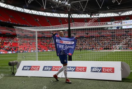 Jake Caprice of Tranmere Rovers celebrates winning the Sky Bet League Two Play-Offs final