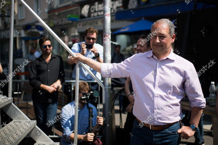 Stock Photo of Top candidate for the upcoming European elections of Social Democratic Party of Austria (SPOe) Andreas Schieder arrives on stage during the SPOe final election campaign event in Vienna, Austria, 25 May 2019. The European Parliament election is held by member countries of the European Union (EU) from 23 to 26 May 2019.