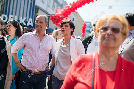 Top candidate for the upcoming European elections of Social Democratic Party of Austria (SPOe) Andreas Schieder (L) and Leader of Austrian Social Democratic Party (SPOe) Pamela Rendi-Wagner during the SPOe final election campaign event in Vienna, Austria, 25 May 2019. The European Parliament election is held by member countries of the European Union (EU) from 23 to 26 May 2019.