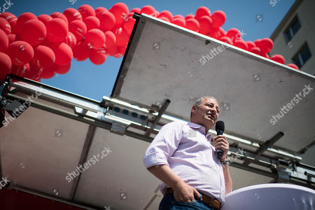 Stock Image of Top candidate for the upcoming European elections of Social Democratic Party of Austria (SPOe) Andreas Schieder delivers a speech during the SPOe final election campaign event in Vienna, Austria, 25 May 2019. The European Parliament election is held by member countries of the European Union (EU) from 23 to 26 May 2019.