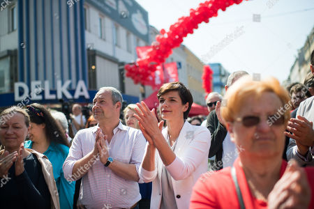Stock Picture of Top candidate for the upcoming European elections of Social Democratic Party of Austria (SPOe) Andreas Schieder (L) and Leader of Austrian Social Democratic Party (SPOe) Pamela Rendi-Wagner during the SPOe final election campaign event in Vienna, Austria, 25 May 2019. The European Parliament election is held by member countries of the European Union (EU) from 23 to 26 May 2019.