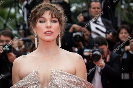 Milla Jovovich poses for photographers upon arrival at the premiere of the film 'Sibyl' at the 72nd international film festival, Cannes, southern France