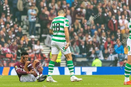 Tom Rogic has a quiet word with Sean Clare of Hearts during the William Hill Scottish Cup Final match between Heart of Midlothian and Celtic at Hampden Park, Glasgow