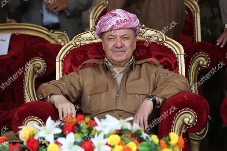 Former president of the Kurdistan Region the head of the Kurdistan Democratic Party Masoud Barzani attends a graduation ceremony at Erbil Infantry military center in Soran town, 120km north east of Erbil, Kurdistan Region in Iraq, 25 May 2019. The graduation ceremony was for 1,139 Peshmerga fighters.