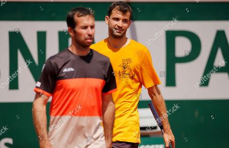 Grigor Dimitrov of Bulgaria in action with new coach Radek Stepanek