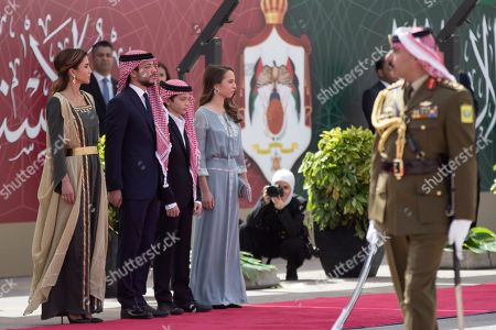 Stock Image of (From L-R) Queen Rania of Jordan, Jordan Crown Prince Al Hussein bin Abdullah II, Prince Hashem and Princess Lalla Salma, during the ceremony of the 73th Anniversary of the Independence in Amman, Jordan, 25 May 2019.
