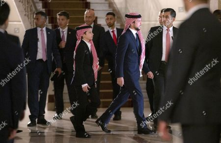 Jordan Crown Prince Al Hussein bin Abdullah II (3-R) and Prince Hashem (3-L), leave the ceremony of the 73rd Anniversary of the Independence in Amman, Jordan, 25 May 2019.