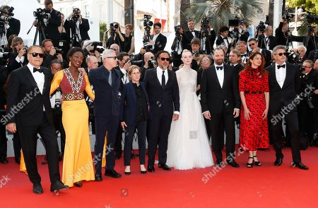 Jury members, Enki Bilal, Maimouna N'Diaye, Robin Campillo, Kelly Reichardt, President of the Jury, Mexican director Alejandro Gonzalez Inarritu, Elle Fanning, Yorgos Lanthimos, Alice Rohrwacher and Pawel Pawlikowski arrive for the Closing Awards Ceremony of the 72nd annual Cannes Film Festival, in Cannes, France, 25 May 2019. The Golden Palm winning movie will be screened after the closing ceremony.