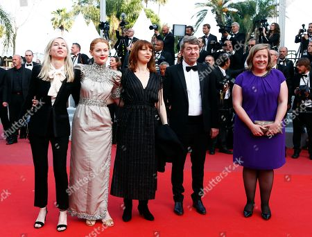 Jessica Hausner, British actress Emily Beecham, director and writer Geraldine Bajard, producer Philippe Bober and producer Gerardine O'Flynn arrive for the Closing Awards Ceremony of the 72nd annual Cannes Film Festival, in Cannes, France, 25 May 2019. The Golden Palm winning movie will be screened after the closing ceremony.