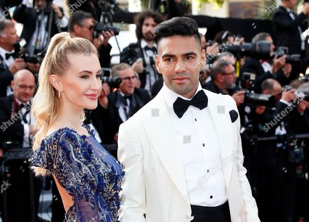 Colombian soccer player Radamel Falcao (R) and his wife Lorelei Taron (L) arrive for the Closing Awards Ceremony of the 72nd annual Cannes Film Festival, in Cannes, France, 25 May 2019. The Golden Palm winning movie will be screened after the closing ceremony.