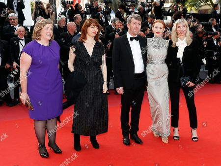 producer Gerardine O'Flynn, director and writer Geraldine Bajard, producer Philippe Bober, British actress Emily Beecham and Austrian director Jessica Hausner arrive for the Closing Awards Ceremony of the 72nd annual Cannes Film Festival, in Cannes, France, 25 May 2019. The Golden Palm winning movie will be screened after the closing ceremony.