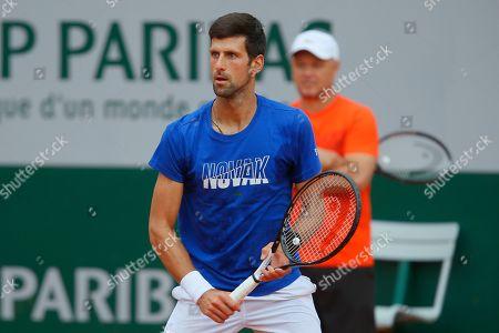 Stock Picture of Novak Djokovic and coach Marian Vajda