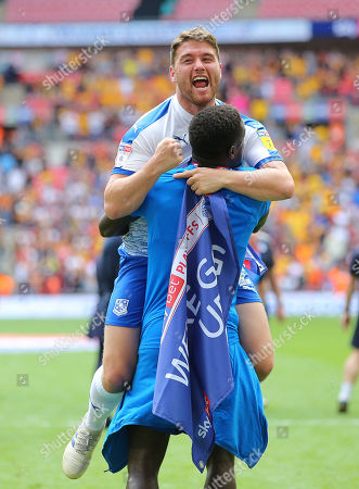 Stock Picture of Adam Buxton of Tranmere Rovers celebrates after the match