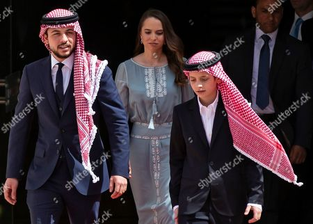 (L-R) Jordan Crown Prince Al Hussein bin Abdullah II, Princess Lalla Salma and  Prince Hashem arrive at the ceremony of the 73th Anniversary of the Independence in Amman, Jordan, 25 May 2019.