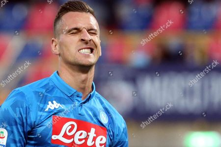 Napoli's Arkadiusz Milik reacts during the Italian Serie A soccer match between Bologna FC and SSC Napoli at the Renato Dall'Ara stadium in Bologna, Italy, 25 May 2019.