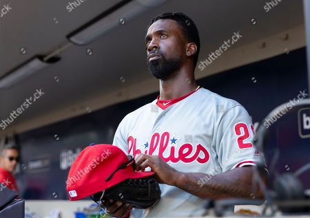 Philadelphia Phillies center fielder Andrew McCutchen #22 during the Major League Baseball game between the Milwaukee Brewers and the Philadelphia Phillies at Miller Park in Milwaukee, WI