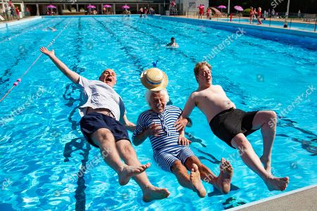Peterborough Lido Pool opens for the 83rd year. (L-R) Former Councilor John Peach, Bill Marriott (Has been coming since the pool Opened is 1936) and MP Conservative Candidate Paul Bristow.