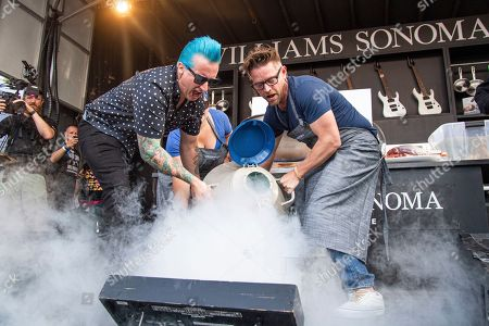 Tre Cool, Richard Blais. Tre Cool, left, and Richard Blais seen at the BottleRock Napa Valley Music Festival at Napa Valley Expo, in Napa, Calif