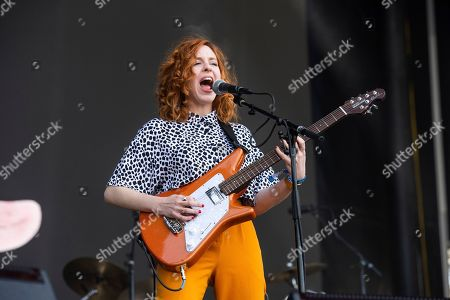 Stock Photo of Genessa Gariano of The Regrettes performs at the BottleRock Napa Valley Music Festival at Napa Valley Expo, in Napa, Calif