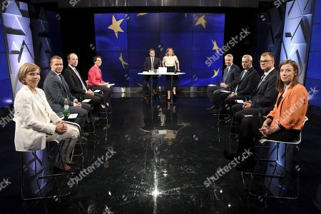 On the left, The Swedish People's Party Chairman Anna-Maja Henriksson, The National Coalition Party Chairman Petteri Orpo, The Finns Party chairman Jussi Halla-aho, The Christian Democrats Party Chairman Sari Essayah, the debate hosts Robert Sundman and Heli Suominen, and on the right, The Green Party chairman Pekka Haavisto, Social Democratic Party chairman Antti Rinne, The Centre Party chairman Juha Sipila and The Left Alliance Party Chairman Li Andersson at the party leaders' European Parliament elections debate, arranged by Finnish Broadcasting Company Yle