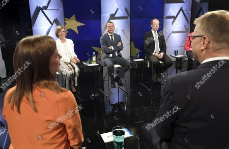 From left, The Left Alliance Party Chairman Li Andersson, The Swedish People's Party Chairman Anna-Maja Henriksson, The National Coalition Party Chairman Petteri Orpo and The Centre Party chairman Juha Sipila at the party leaders' European Parliament elections debate, arranged by Finnish Broadcasting Company Yle